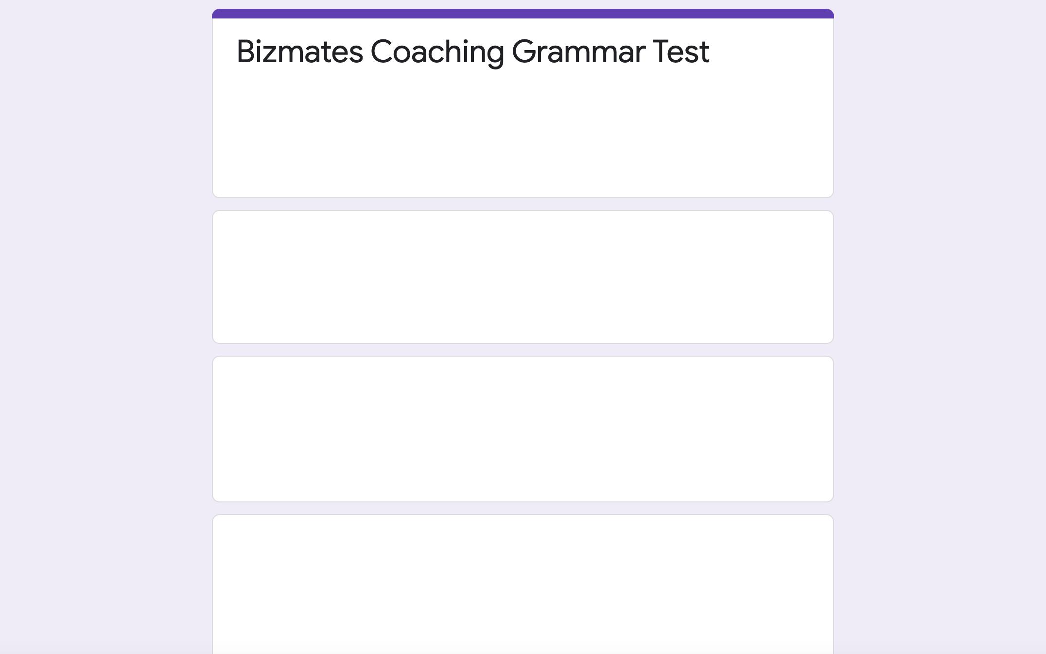 Bizmates Grammer Test